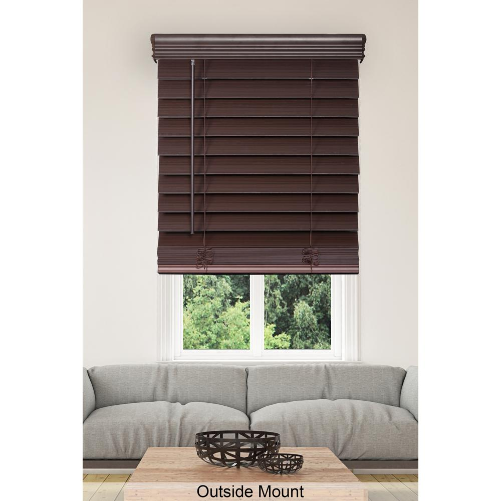 Home Decorators Collection Espresso Cordless 2 1 2 In Premium Faux Wood Blind 72 In W X 72