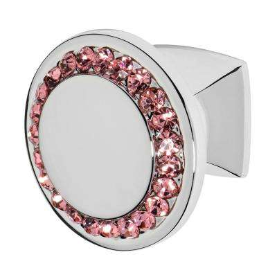 Isabel 1-1/4 in. Chrome with Pink Crystal Cabinet Knob