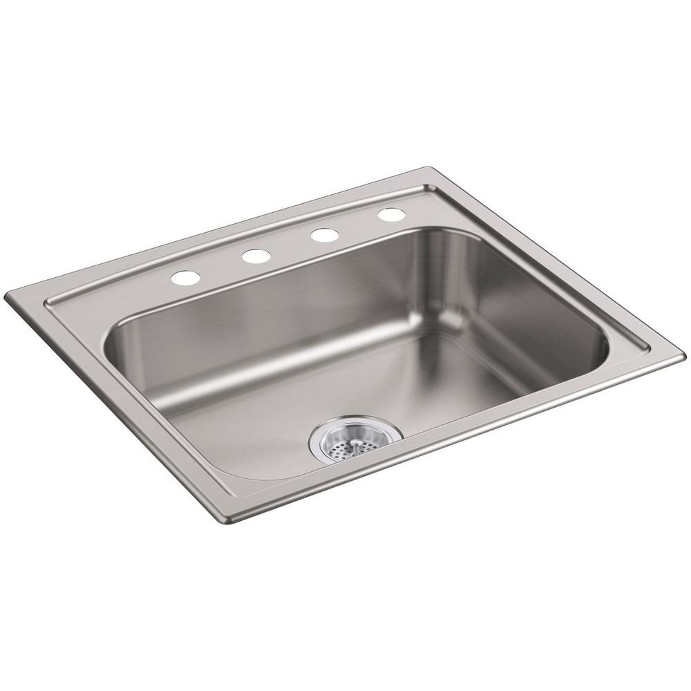 kohler toccata drop in stainless steel 25 in  4 hole single bowl kitchen sink k 4011 4 na   the home depot kohler toccata drop in stainless steel 25 in  4 hole single bowl      rh   homedepot com