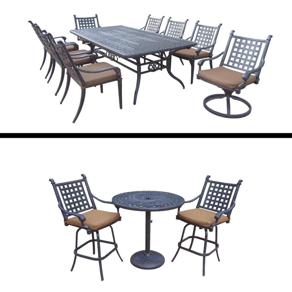 High Quality Belmont Premier 12 Piece Aluminum Outdoor Dining Set With Sunbrella Brown  Cushions