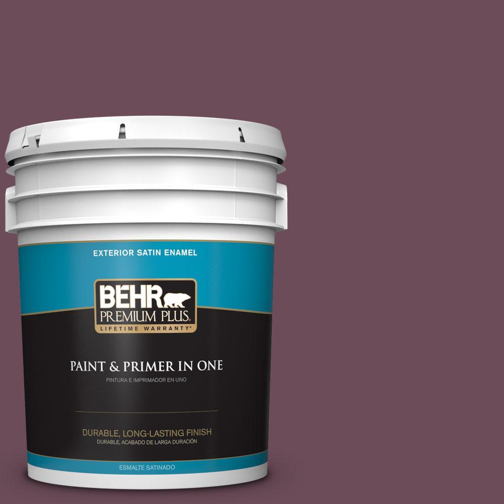 5 gal. #PPU1-20 Spiced Plum Satin Enamel Exterior Paint