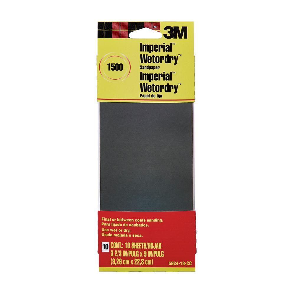 3M 3M 3-2/3 in. x 9 in. 1500 Grit Sandpaper (10 Sheets-Pack)
