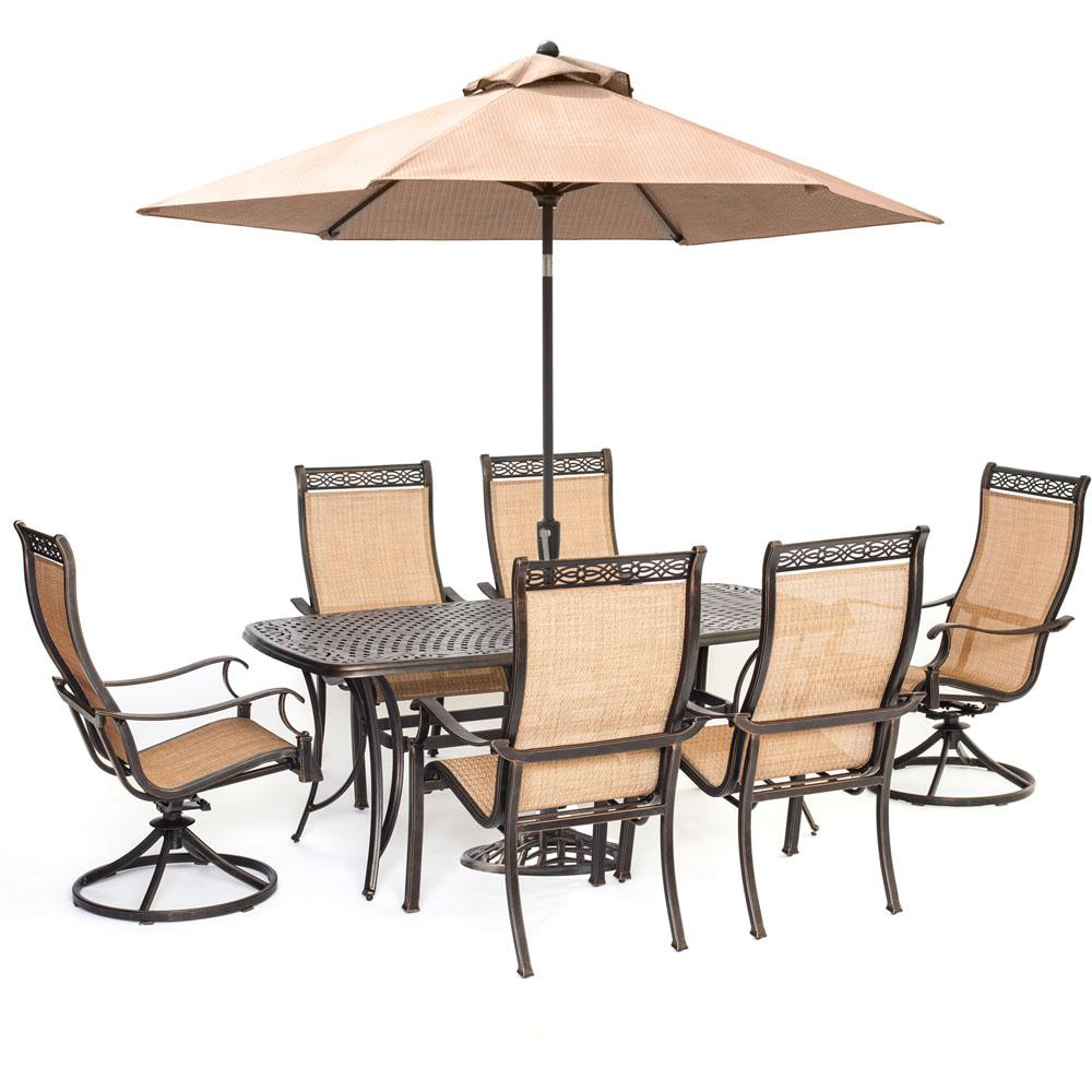 Breckenridge 4 Piece Patio Furniture Set Two Swivel: Hanover Manor 7-Piece Sling Outdoor Dining Set With 2