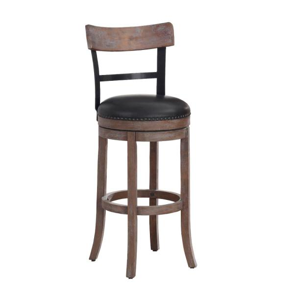 American Woodcrafters Taranto 30 in. Washed Brown Swivel Bar Stool