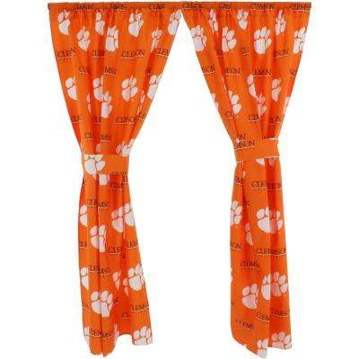 42 in. W x 63 in. L Clemson Tigers Cotton With Tie Back Curtain in Orange  (2 Panels)