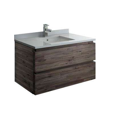 Formosa 36 in. Modern Wall Hung Vanity in Warm Gray with Quartz Stone Vanity Top in White with White Basin