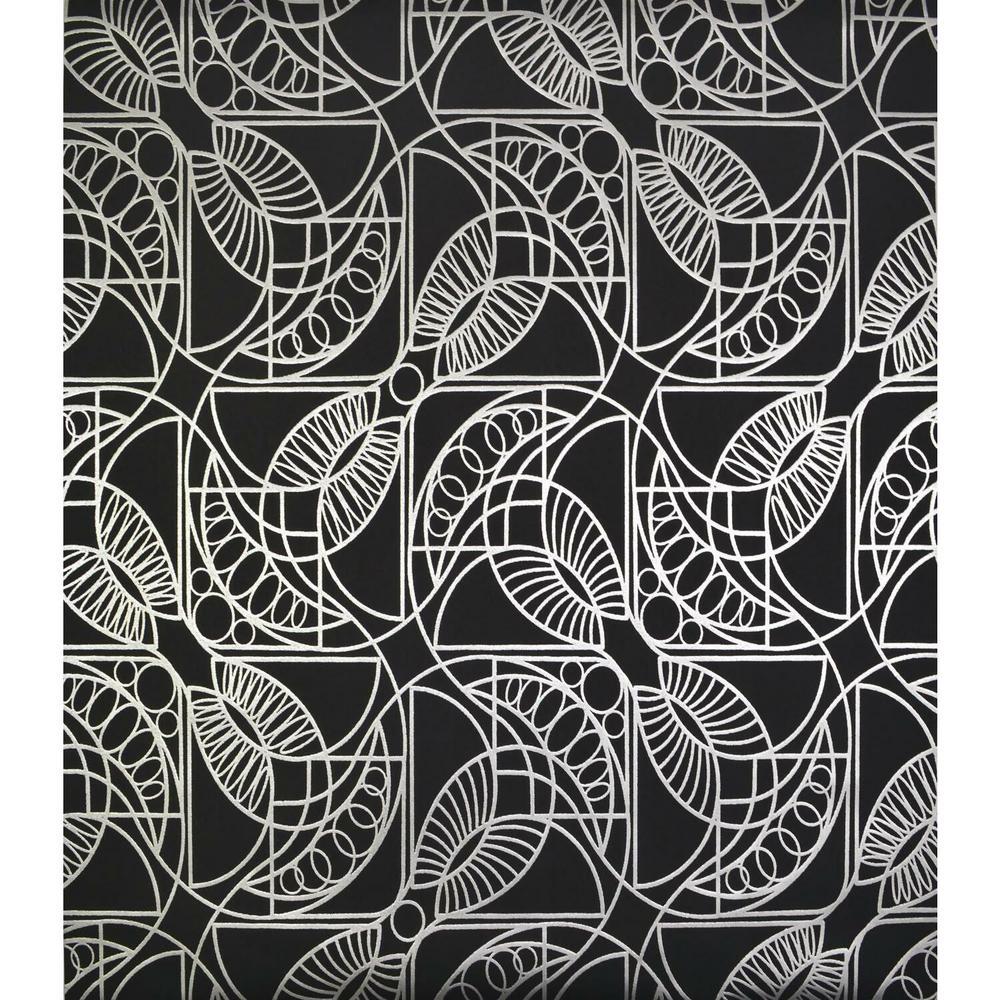 56.9 sq. ft. Black/Silver Cartouche Wallpaper