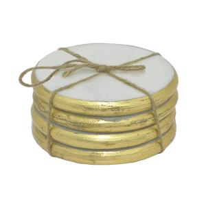 THREE HANDS Golden Edges Marble Coaster (Set of 4) by THREE HANDS