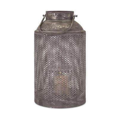 Homestead 10.75 in. Antiqued Silver Metal Lantern