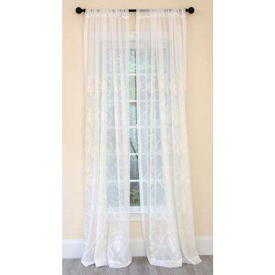 Ella Embroidered Sheer Single Rod Pocket Curtain Panel in White - 52 in. x 120 in.