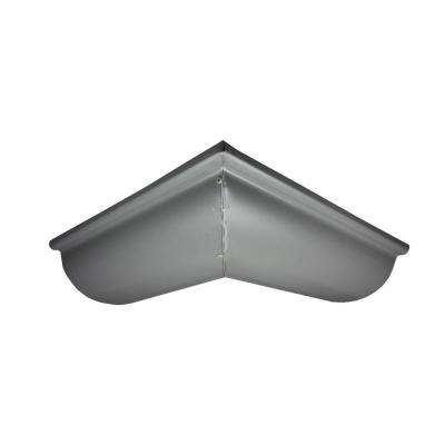6 in. Half Round Tuxedo Gray Aluminum Outside Miter