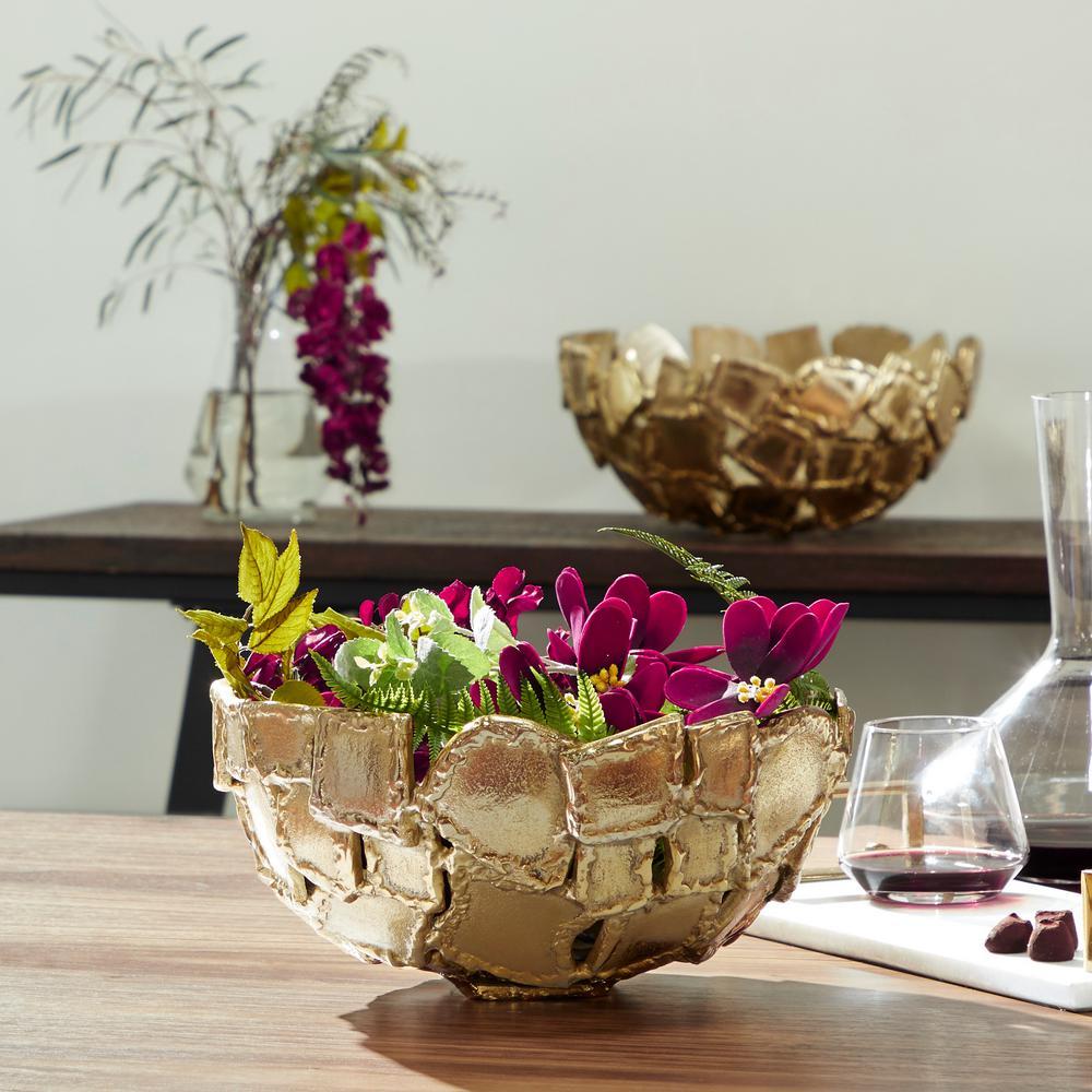 Contemporary Metallic Gold Metal Decorative Bowls (Set 0f 2)