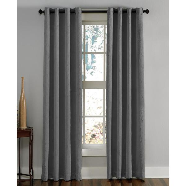 Curtainworks Lenox Room Darkening 50 In W X 63 In L Grommet Curtain Panel In Grey 1q806306gy The Home Depot