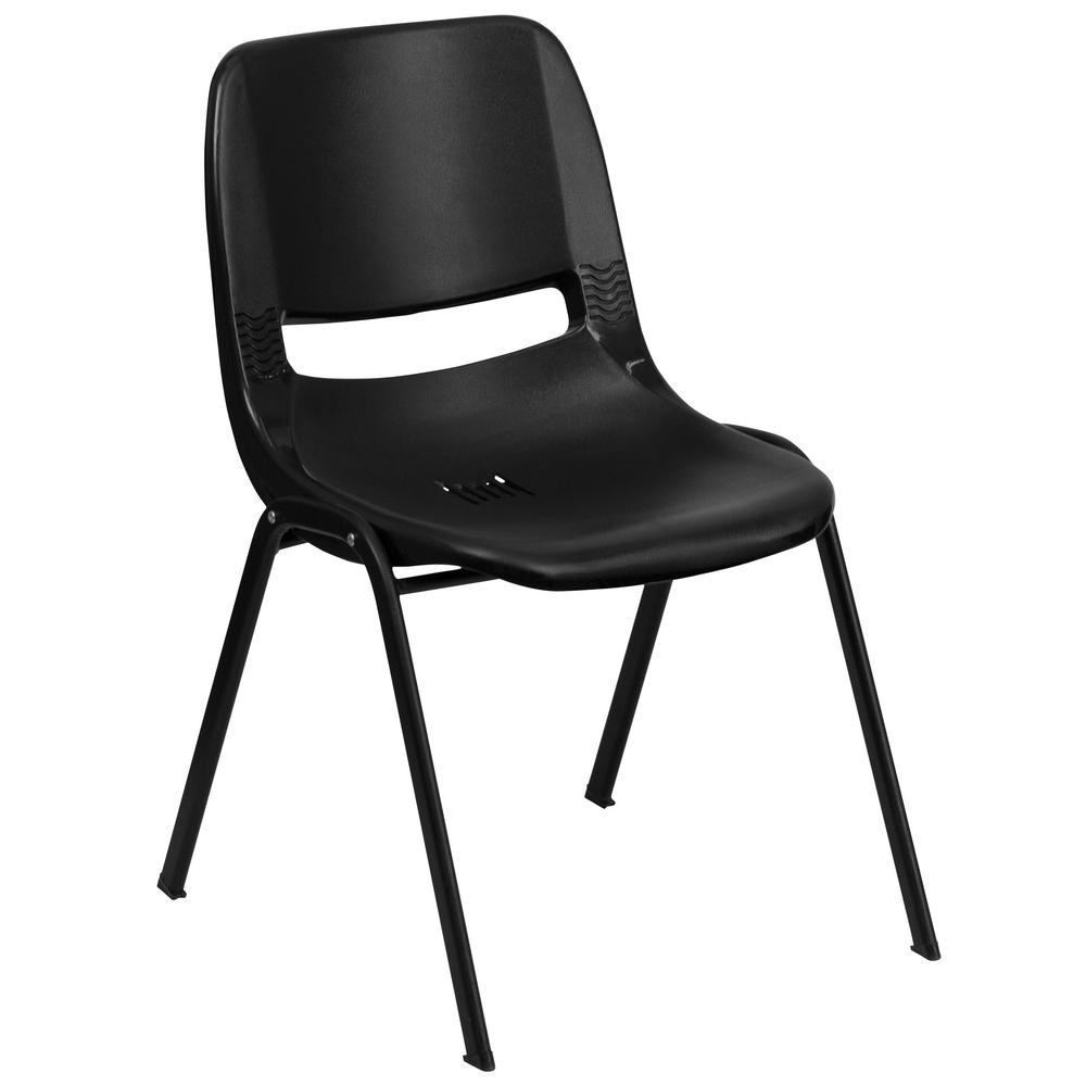 Flash Furniture Hercules Series 440 Lb. Capacity Black Ergonomic Shell  Stack Chair With Black Frame