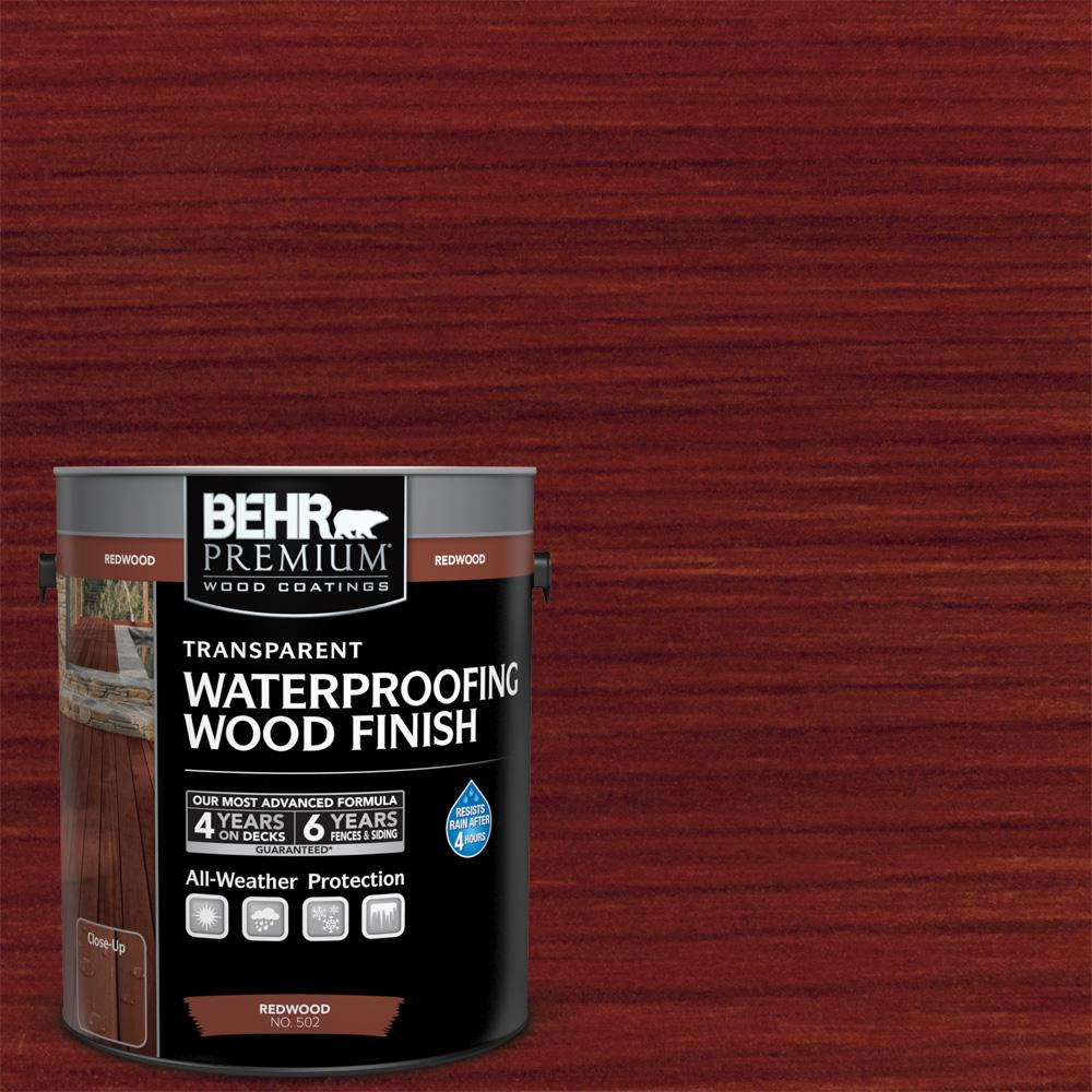 BEHR Premium 1 gal. Redwood Transparent Waterproofing Wood Finish