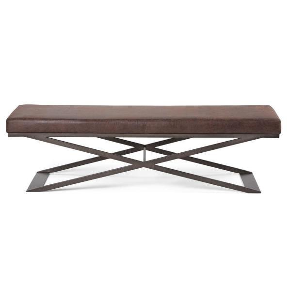 Simpli Home Cooper 63 in. Contemporary Ottoman Bench in Distressed Brown