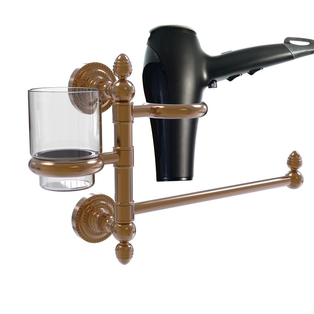 Allied Brass Dottingham Collection Hair Dryer Holder and Organizer in Antique Pewter