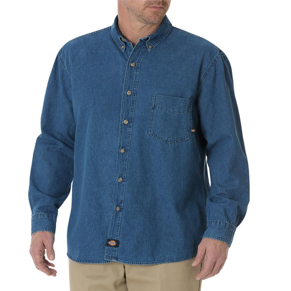 438c89049 Dickies Men s Stonewashed Indigo Blue Long Sleeve Button-Down Denim Shirt