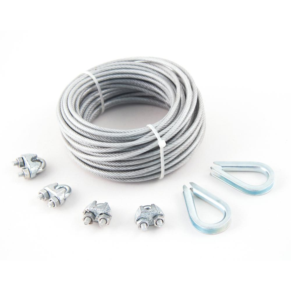 KingChain 3/32 in. x 1/8 in. x 50 ft. PVC-Coated Galvanized Aircraft ...