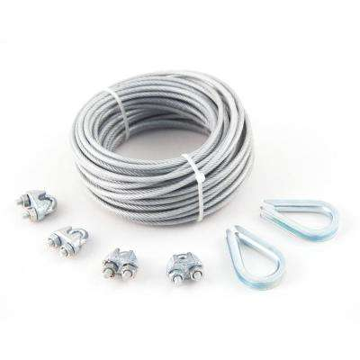 3/32 in. x 1/8 in. x 50 ft. PVC-Coated Galvanized Aircraft Cable 7x7 Construction with Clips and Thimbles