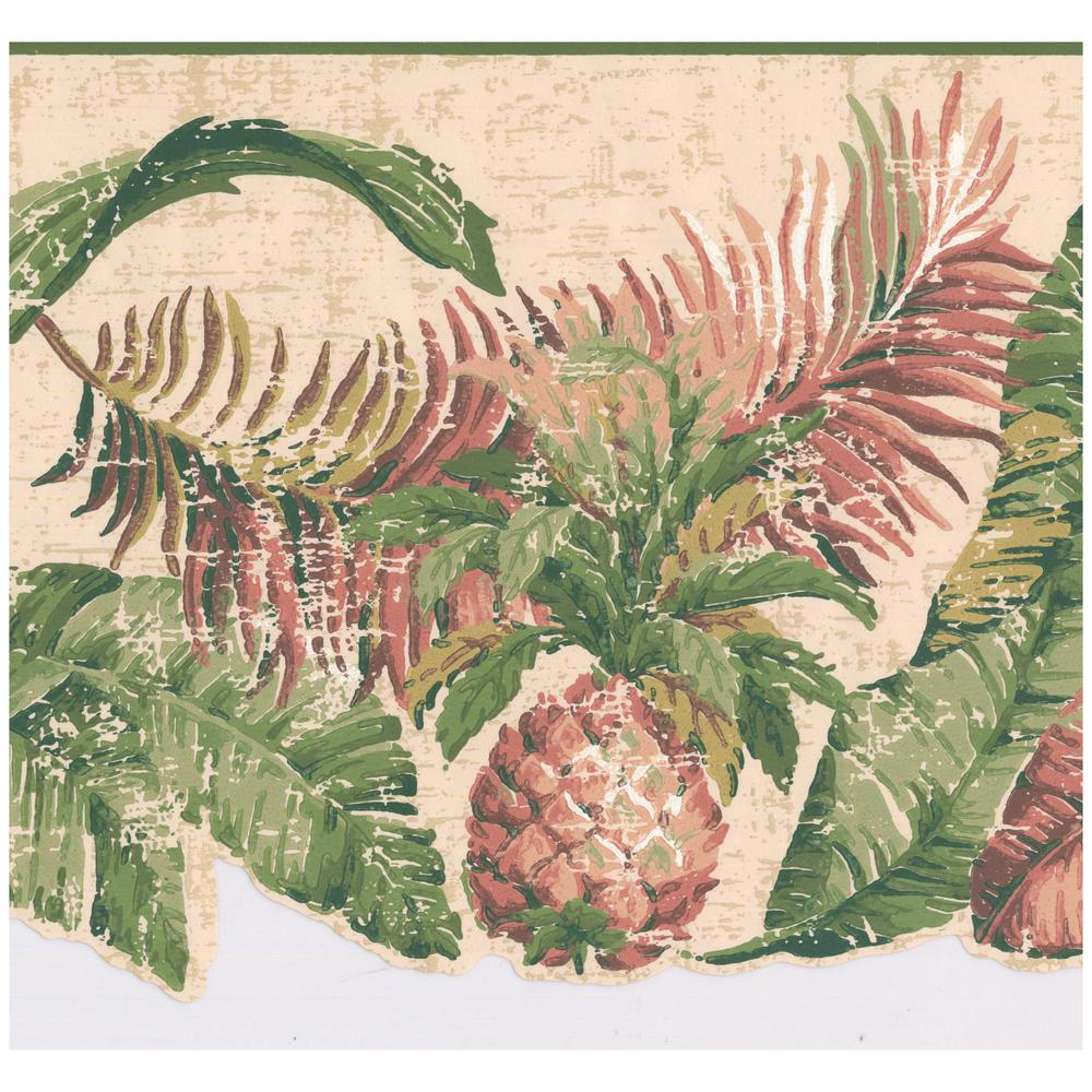 York Wallcoverings Distressed Pineapple Tropical Plants Scalloped