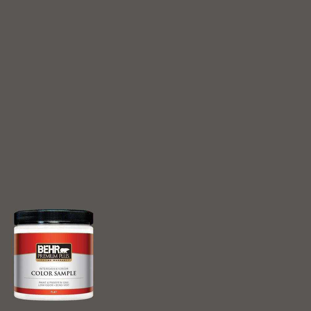 8 oz. #BXC-17 Dominant Gray Flat Interior/Exterior Paint and Primer in