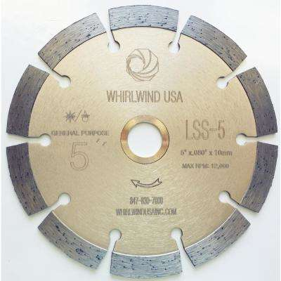 5 in. 10-Teeth Segmented Diamond Blade for Dry or Wet Cutting Concrete, Stone, Brick and Masonry