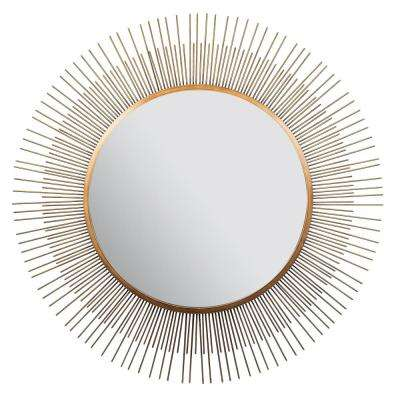 Sunburst Round Gold Decorative Mirror