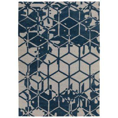 Hampton Collection Navy 5 ft. x 7 ft. Geometric 3D Cube Design Area Rug
