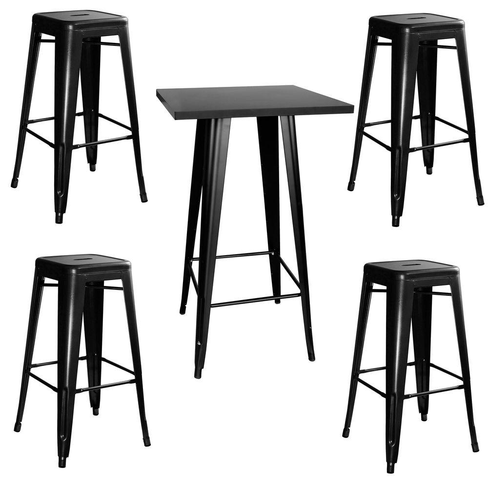 Amerihome Loft Style Metal Bar Table Set In Black With Stackable Stools 5 Piece