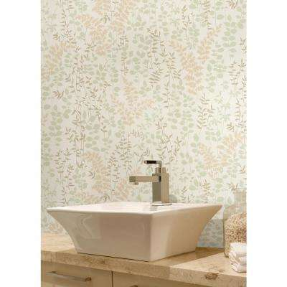 Dixon Beige Forest Leaves Wallpaper Sample
