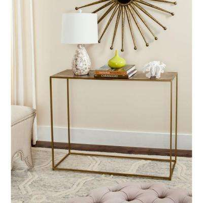 Elva Antique Brass Console Table