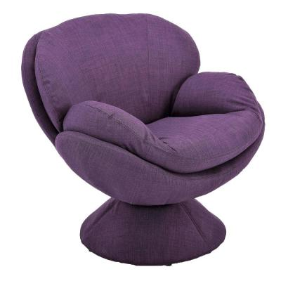 Comfy Purple Upholstered Swivel Scoop Chair