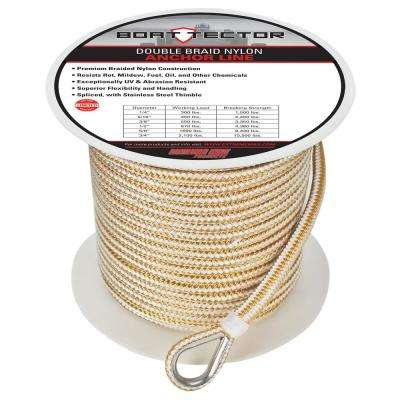 3/8 in. x 250 ft. BoatTector Double Braid Nylon Anchor Line with Thimble in White and Gold