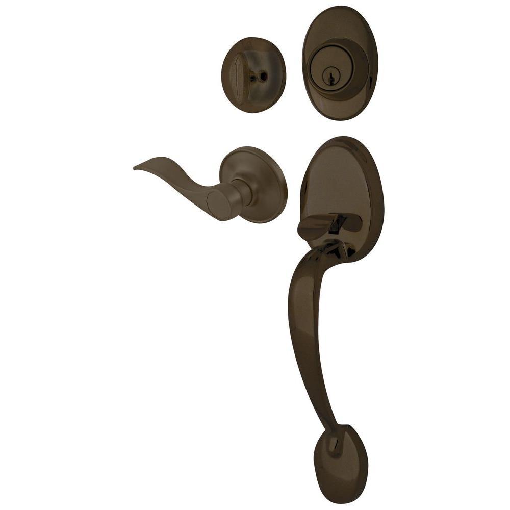 Ultra Hardware Lexington Oil Rubbed Bronze Handle Set and Single Cylinder Deadbolt