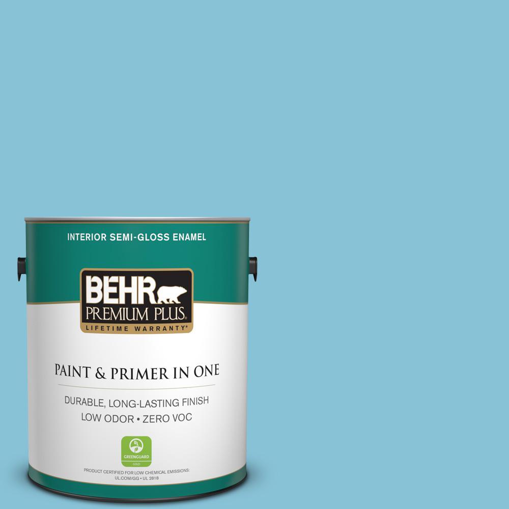 BEHR Premium Plus 1 gal. #540D-4 Dreaming Blue Semi-Gloss Enamel Zero VOC Interior Paint and Primer in One