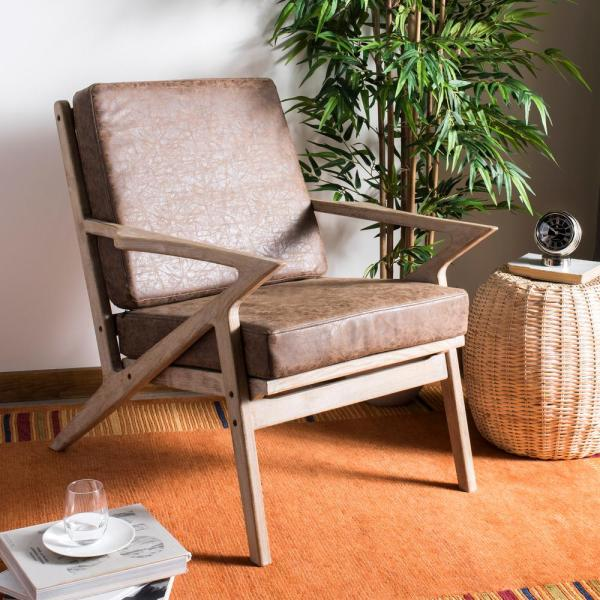 Safavieh Varys Light Brown/Natural Leather Accent Chair