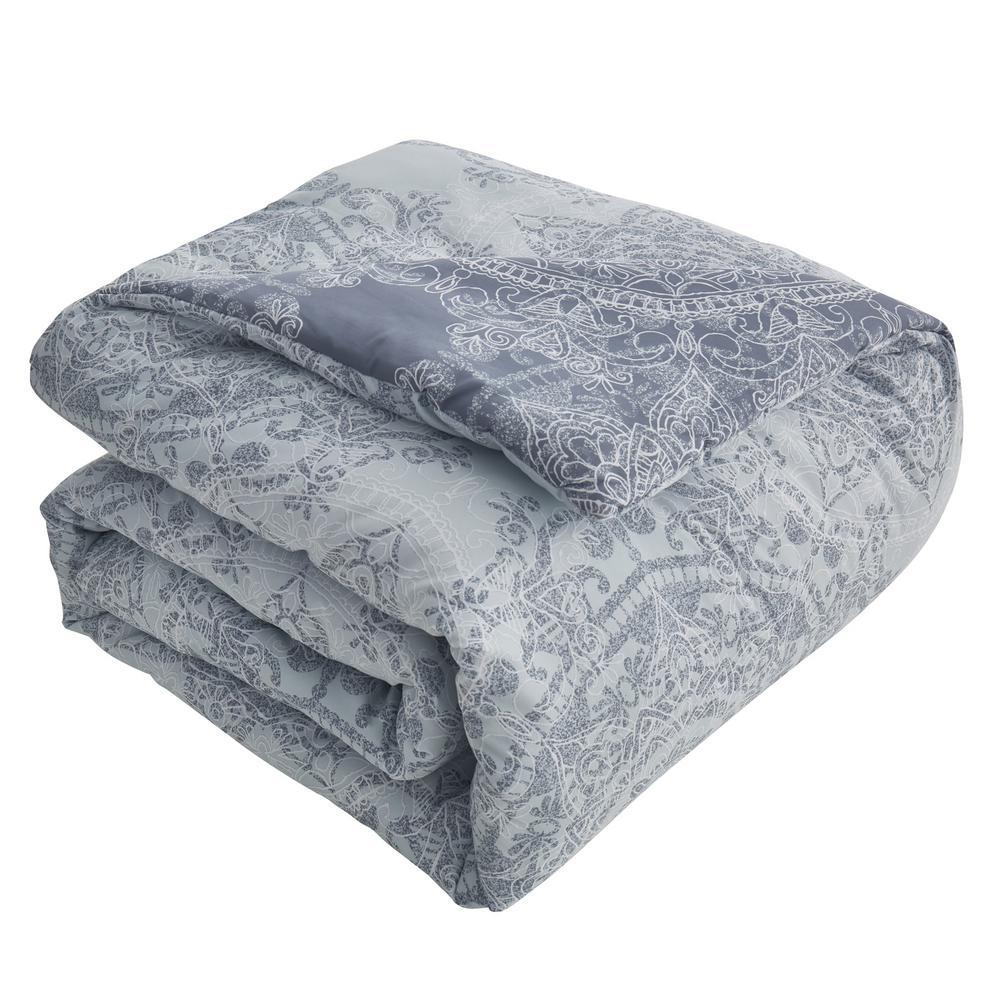 Bungalow 7-Piece Light Blue Medallion Queen Comforter Set