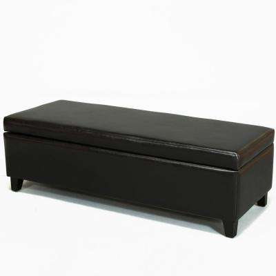 York Black Bonded Leather Storage Bench