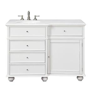 Hampton Harbor 48 in. W x 22 in. D Bath Vanity in White with Natural Marble Vanity Top in White