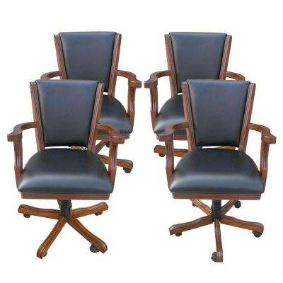Kingston Walnut Poker Table Arm Chair (Set of 4)