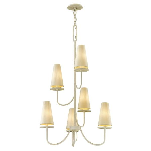 Marcel 6-Light Gesso White 28 in. D Chandelier with Off-White Hardback Cotton Shade