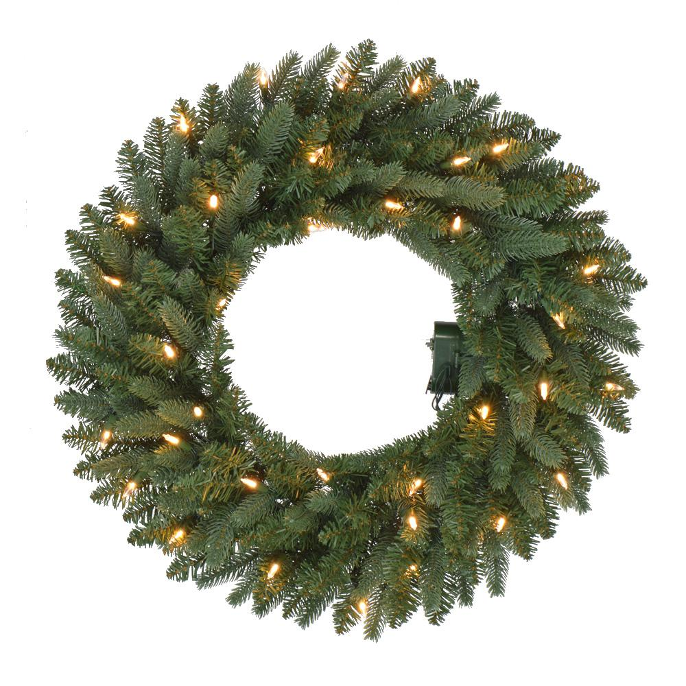 Battery Operated Pre Lit Led Artificial Meadow Fir Christmas Wreath W 225 Tips And 35 Warm White Lights Timer
