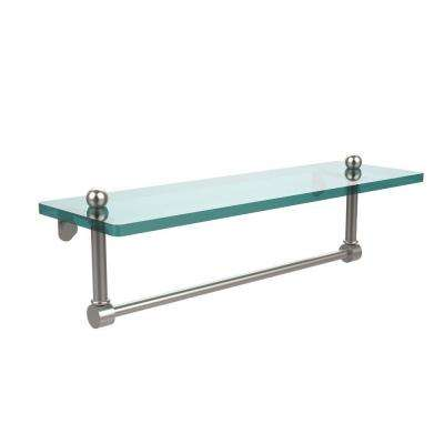 16 in. L  x 5 in. H  x 5 in. W Clear Glass Vanity Bathroom Shelf  with Integrated Towel Bar in Satin Nickel