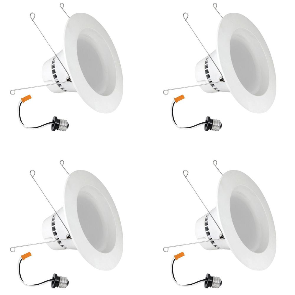 5/6 in. White Integrated LED Recessed Trim Retrofit Dimmable Down light