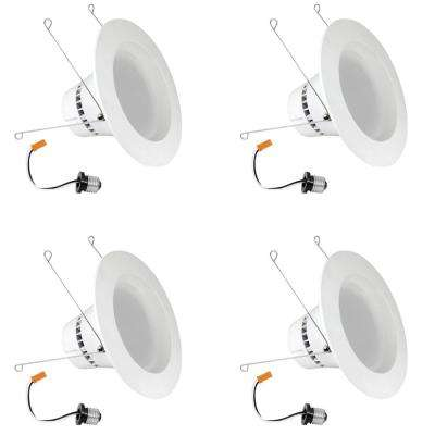 5/6 in. White Integrated LED Recessed Trim Retrofit Dimmable Down light LED Module (Case of 4)