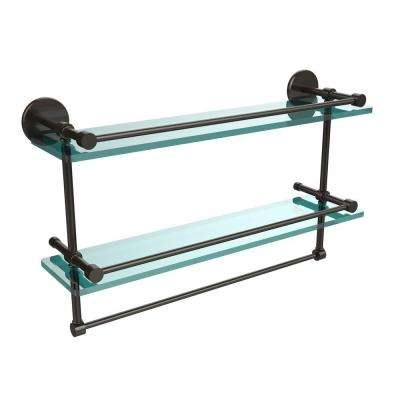 22 in. L  x 12 in. H  x 5 in. W 2-Tier Clear Glass Bathroom Shelf with Towel Bar in Oil Rubbed Bronze
