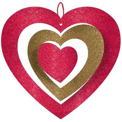 11 in. Valentine's Day Spinning Heart Hanging Decoration (5-Pack)