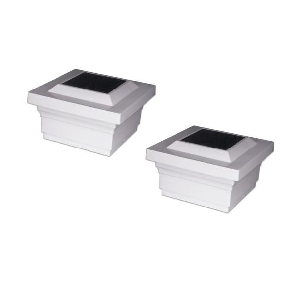 Majestic 5 in. x 5 in. Outdoor White Vinyl LED Solar Post Cap (2-Pack)