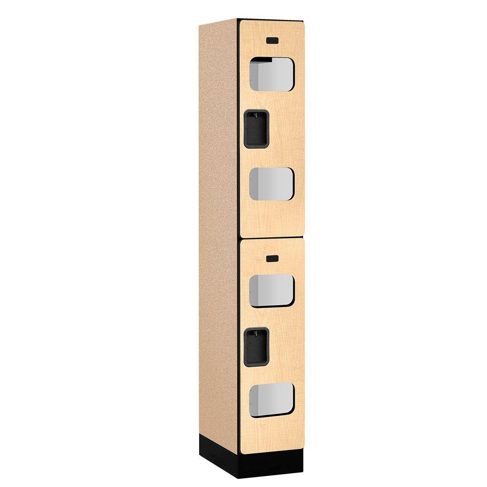 Salsbury Industries S-32000 Series 12 in. W x 76 in. H x 18 in. D 2-Tier See-Through Designer Wood Locker in Maple